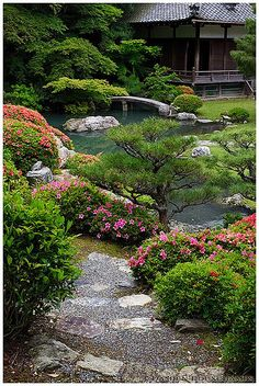 asian garden Shoren-in temple's zen garden, Kyoto Small Japanese Garden, Japanese Garden Design, Japanese Landscape, Chinese Garden, Japanese Gardens, Zen Garden Design, Landscape Design, Amazing Gardens, Beautiful Gardens