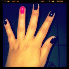 Pink & Black Nails