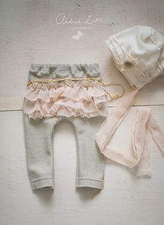 Image of Tan /gold ruffle bum pant set