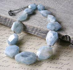 Aquamarine Necklace Rough Nugget Gemstone by RachelUngerJewelry