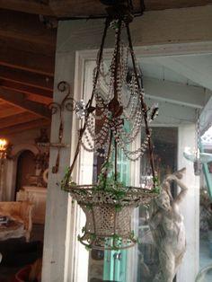 Beaded basket chandelier
