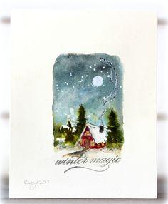 Rapport från ett skrivbord: Less is Christmas Paintings, Watercolor Cards, Watercolor Christmas Cards, Christmas Card Art, Card Art