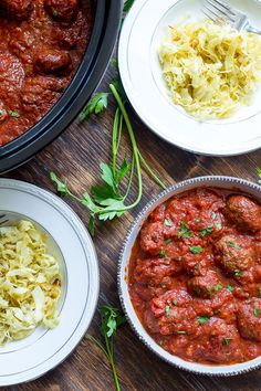 These Paleo Slow Cooker Meatballs in Marinara Sauce are Whole30 compliant, kid friendly, and great to make ahead and for leftovers!