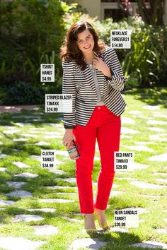 SHOW OFF YOUR STRIPES   $25 blazer from TJMaxx modeled by Mary from A Fab Life