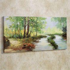 Summer Stream Handpainted Canvas Wall Art