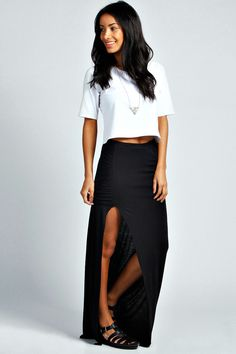 Ria Rouched Top Jersey Maxi Skirt at boohoo.com