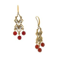 With swirly detailing, multifaceted carnelian beads and Azteca-style design, these chandelier earrings make a perfect accent to your everyday ensemble.