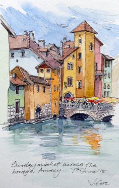 Sunday Market in Annecy, France. Jenny Gore ~pen and wash Watercolor Architecture, Watercolor Landscape Paintings, Pen And Watercolor, Watercolor Illustration, Watercolor Ideas, Watercolor Pictures, Annecy France, Art Aquarelle, Pen And Wash