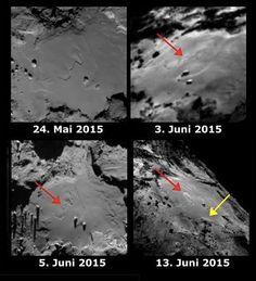 Rosetta beobachtet Veränderungen der Oberfläche auf Komet 67P/Churyumov-Gerasimenko . . . http://www.grenzwissenschaft-aktuell.de/veraenderungen-auf-komet-67p20151001/ . . . Abb.: ESA...