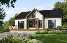 Alexis - Habitations Mont-Carleton Small Bungalow, Modern Bungalow House, Bungalow Exterior, Bungalow House Plans, Dream House Exterior, Exterior House Colors, Modern House Plans, Facade Design, Exterior Design