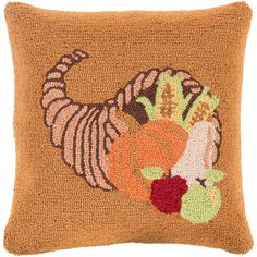 Decor 140 Holiday Hooked Throw Pillow Cover - 18'' x 18'', Orange