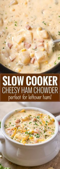 Slow Cooker Cheesy Ham Chowder - The Chunky Chef Warm up in the most comforting way. a big bowl of this cheesy ham chowder, made easy in the slow cooker! Perfect for a busy weeknight! Crock Pot Recipes, Slow Cooker Recipes, Cooking Recipes, Healthy Recipes, Healthy Soup, Fall Crockpot Recipes, Cooking Tips, Crock Pots, Cooking Classes