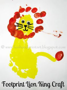 Footprint Lion King Craft is part of Disney crafts For Infants - Love the kids movie The Lion King Make a Lion King Craft using footprints! Daycare Crafts, Baby Crafts, Crafts To Do, Preschool Crafts, Crafts For Kids, Arts And Crafts, Lion King Crafts, Lion Craft, Toddler Art