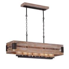 Home Decorators Collection Cesto Collection 7-Light Wood Rectangular Chandelier 26365-HBU at The Home Depot - Mobile