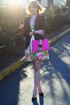 Style Inspiration: budding......//   white floral Zara dress,  black tailored Zara blazer,  hot pink clutch asos bag, gold vintage Choker necklace,   black satin two-tone Miu Miu wedges,   black cuff Lee Angel bracelet