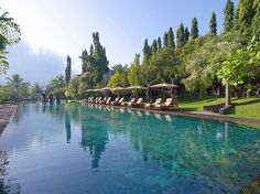 Jungle hills and rice paddies surround the  25-metre pool at the Chedi Club outside Ubud, Bali