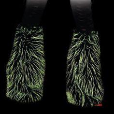 Leg Warmers Cyber Goth en fausse fourrure noire et verte