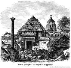 Illustration showing the Jagannath Temple, a famous Hindu temple dedicated to Jagannath (Krishna) located in the coastal town of Puri in the state of Orissa, India Kerala Mural Painting, Indian Art Paintings, Black Paper Drawing, Line Drawing, Temple India, Hindu Temple, Temple Drawing, The Magic Faraway Tree, Indian Temple Architecture