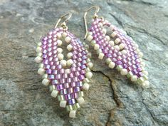 Earrings in Purple and Green Seed Beads Mother's by SierraBeader, $34.00