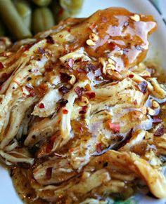 Crockpot Sweet Garlic Chicken--this looks amazing!  Says it is good on top of a baked potato!
