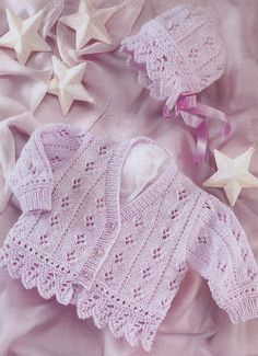 vintage knitting pattern PDF baby cardigan and bonnet double