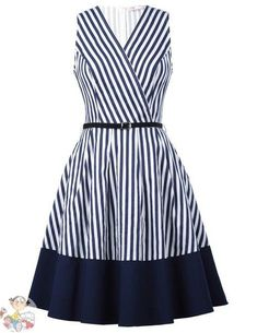 Belle Poque 2017 Women Retro Striped Dress Summer Casual Female Clothes Sexy Sleeveless V Neck Ruffle Robe Vintage Work Dresses Simple Dresses, Day Dresses, Cute Dresses, Dress Outfits, Casual Dresses, Short Dresses, Girls Dresses, Fashion Outfits, Summer Dresses
