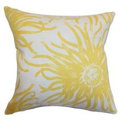 Cotton pillow showcasing a yellow blossom motif.   Product: PillowConstruction Material: Cotton cover and 95/5 down fillColor: YellowFeatures:  Insert includedHidden zipper closureMade in the USA Dimensions: 18 x 18Cleaning and Care: Spot clean