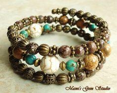 Wrap Around Natural Stone Memory Wire Bracelet, White Magnesite, Turquoise, Brown Jasper via Etsy
