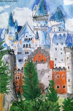 Munich et la Bavière, Louis II et Richard Wagner: Schloss Neuschwanstein - Gouache auf Papier Gouache, It's December, Neuschwanstein Castle, 7 Year Olds, Bavaria, First Love, Germany, Painting, Paper