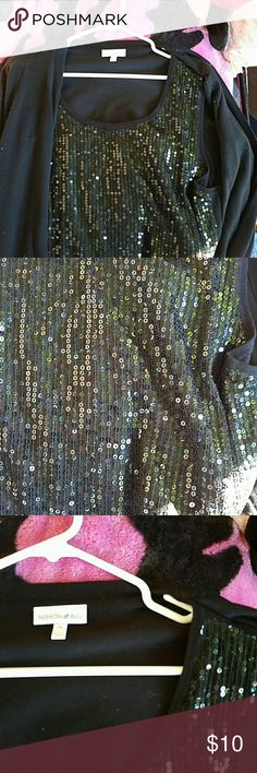 Black knit jacket with back sequin tank attached Like new condition Fashion Bug Tops Blouses