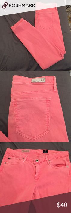 Adriano Goldschmied Pink Ankle Denim Pants The Stevie ankle pants in pink denim. Very stretchy jean material in amazing quality. In excellent condition. AG Adriano Goldschmied Pants Ankle & Cropped