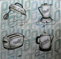 $29.99  SET OF 4 ART Prints Toasted Perk UP MIX IT UP Blended BY Lynn Metcalf   eBay