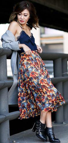 #fall #trending #outfits | Grey Cardi + Silk Cami + Floral Skirt