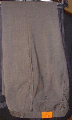 Simon Carter Carnaby Street Gray Pinstrip Wool Trouser Pants Size 36 34 New Tags #SimonCarter #DressFlatFront