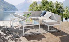 Moderne hagemøbler i aluminium - leveres også i sort.