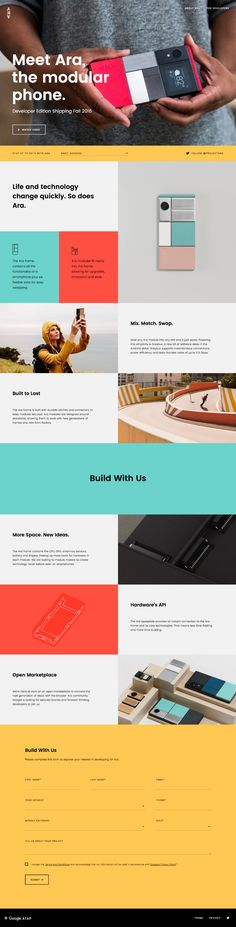 Meet the Ara the Modular Phone. The phone you can truly make your own. One Page Website, Website Layout, Web Layout, Website Ideas, Interface Web, User Interface Design, Design Web, Page Design, One Pager Design