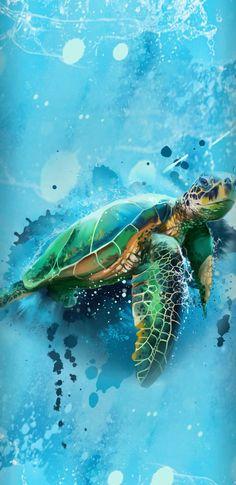 Office Mural, Turtle Painting, Cute Wallpapers, Desktop Wallpapers, Surf Art, Fish Art, Marvel, Cartoon Wallpaper, Animal Paintings