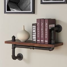 """Montana Industrial Pine Wood Floating Wall Shelf 24"""" in Gray and Walnut Finish - Armen Living : Target"""