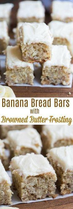 The best 30 Banana desserts.Check out these 30 wonderful banana dessert recipes! Easy to do it. Banana Bread Brownies, Banana Bars, Moist Banana Bread, Banana Bread Glaze, Banana Bread Cookies, Chocolate Banana Bread, Chip Cookies, Banana Dessert Recipes, Banana Bread Recipes