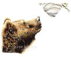 Bear Watercolor Painting Animal Art Bear Painting Bear