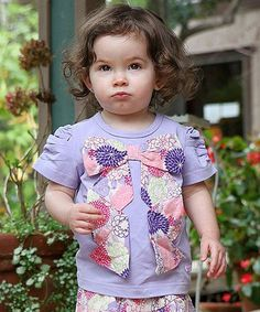 Take a look at this Lavender Bow Tee - Infant, Toddler & Girls by RuffleButts on #zulily today!