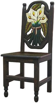 This exquisitely hand-carved and hand-painted Calla Lily chair was created with pride by the renowned Perla furniture studio of Michoacan, Mexico.