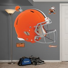 NFL® Cleveland Browns Revolution Helmet Wall Graphic by Fathead® Go Browns, Browns Fans, Vinyl Wall Art, Wall Decals, Cleveland Against The World, Nfl Cleveland Browns, Helmet Paint, Brown Babies, Make A Plan