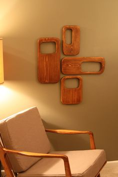 Mid Century/Danish Modern 4 Piece Wood Wall Art Sculpture. $100.00, via Etsy.