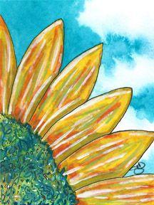 Leslie Saeta January 30 Paintings in 30 days Challenge - Sunny Day. Watercolor, pen, gouache, 140 lb. cold press paper. © 2014 Sheila Delgado