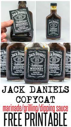 Jack Daniels Copycat sauce recipe with free printable (Bottle Gift Jack Daniels) Jack Daniels Marinade, Jack Daniels Sauce, Jack Daniels Label, Jack Daniels Bottle, Festa Jack Daniels, Jack Daniels Party, Jack Daniels Birthday, Jack Daniels Gifts, Fete Julie