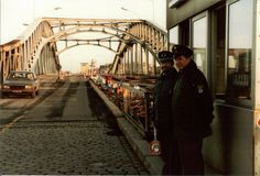 Bornholmer Strasse Checkpoint of the Bose Brucke, West Berlin.  One  Zoll (left), one  Polizei (right).  January 1984
