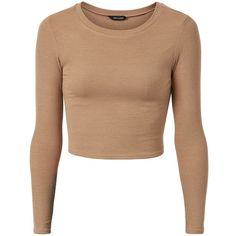 Camel Ribbed Long Sleeve Crop Top ($5.19) ❤ liked on Polyvore featuring tops, shirts, crop tops, long sleeves, crop, camel, long sleeve tops, beige top, long sleeve shirts and shirt tops