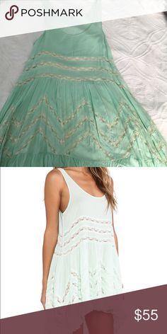 Free People Intimately slip dress lace details, color is spring green, worn once, flowy, rare color Free People Dresses