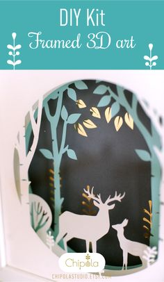 DIY Shadow box kit. Make yourself amazing 3D paper art. Order at #Chipola #reindeer #birchtrees #paperart